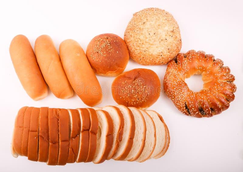 Bakeries. Variety of bakery on white background stock image
