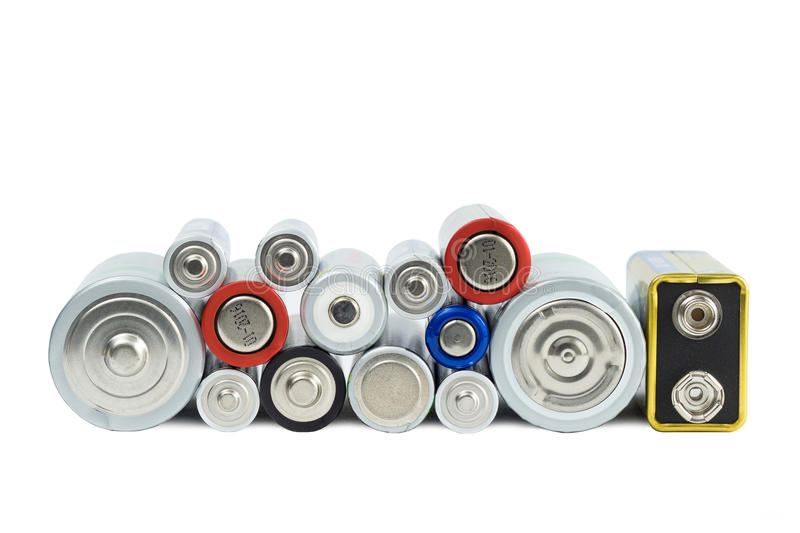 Variety of batteries viewed from the front royalty free stock photos