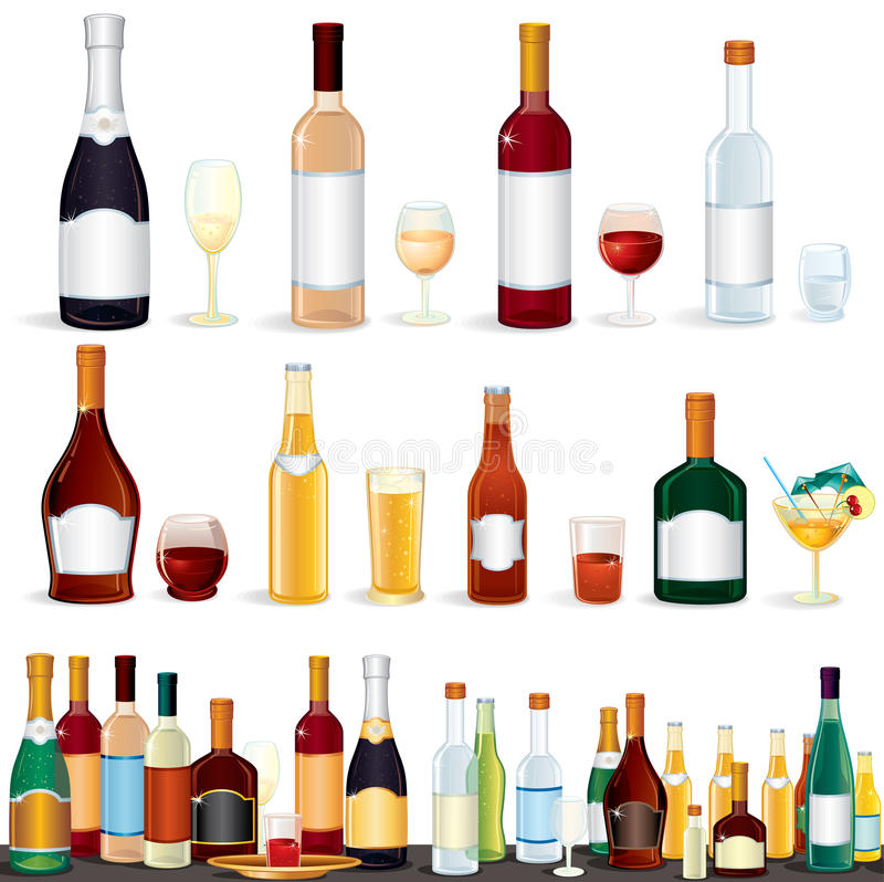 Download Variety Beverages stock vector. Image of alcohol, glass - 20305576