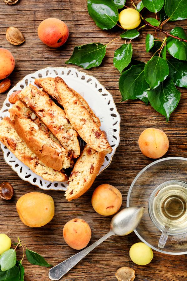 Variety of biscotti - cantucci. Cantuccini, kind of biscuit, with the addition of almonds and dried fruits royalty free stock image