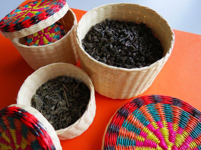 Variety of black and green tea royalty free stock photos