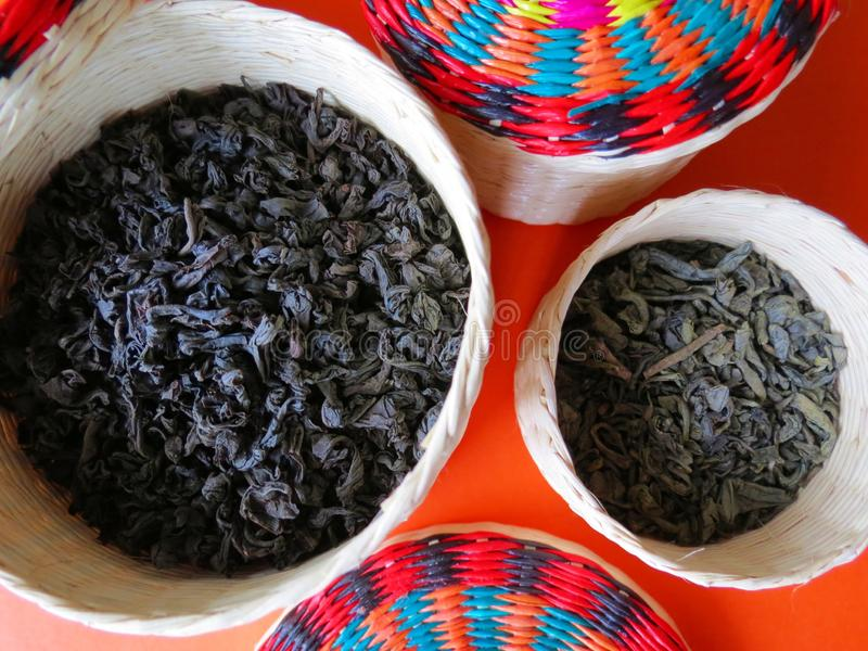 Variety of black and green tea stock photo