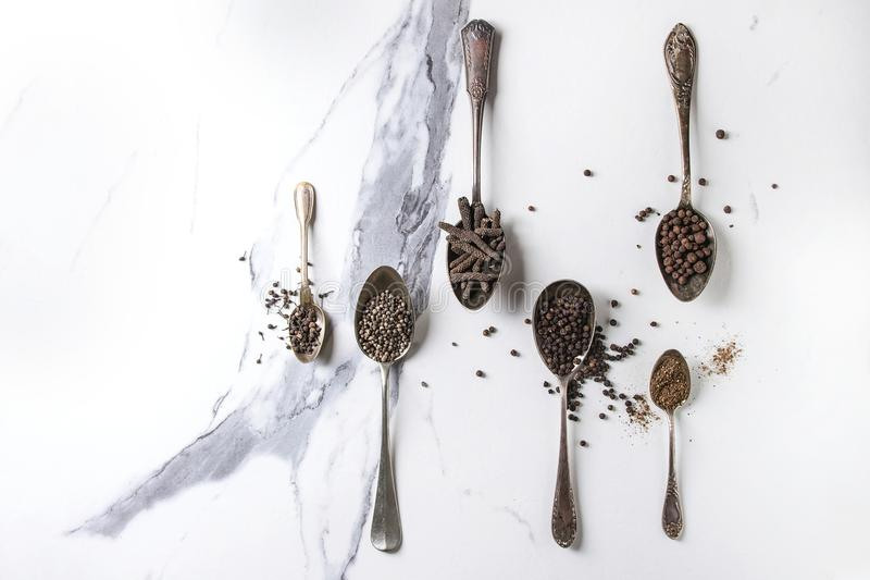 Variety of black peppers stock images