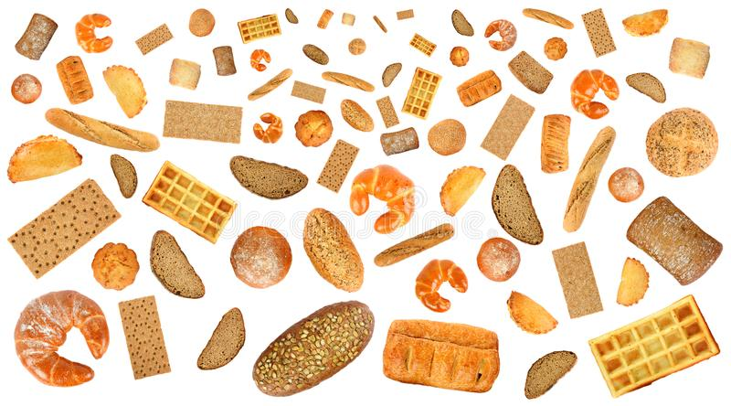 Variety of bread products for layout isolated on white background. Without shadow. stock images