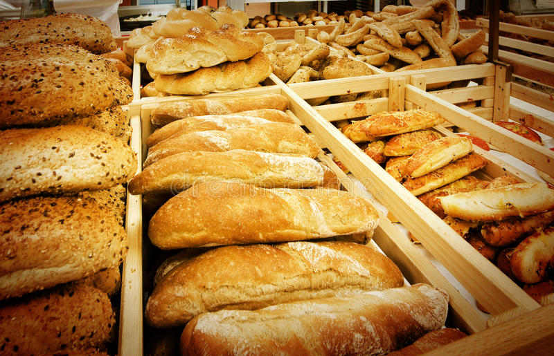 Variety of bread in a supermarket royalty free stock photos