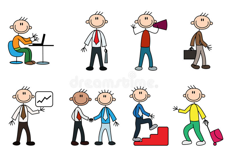 Variety business stick man royalty free illustration
