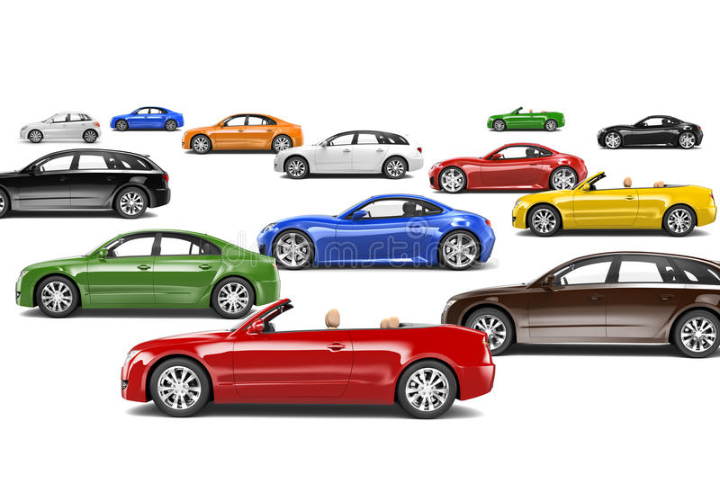 Variety of Car Collection. Variety of colourful car collection royalty free illustration
