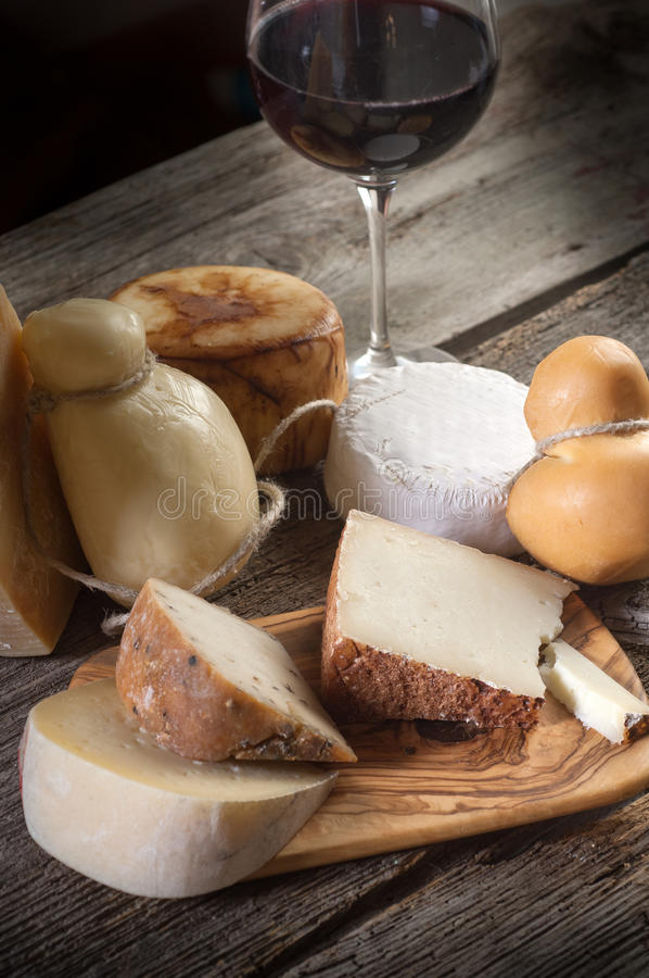 Variety of cheese and wine royalty free stock photography