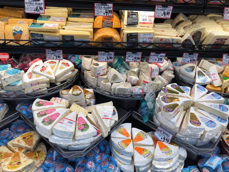 Variety of Cheeses For Sale In A Supermarket. royalty free stock photography
