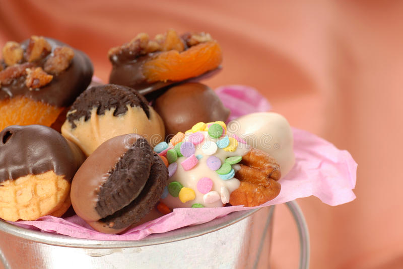 Variety of chocolate covered confection stock photo