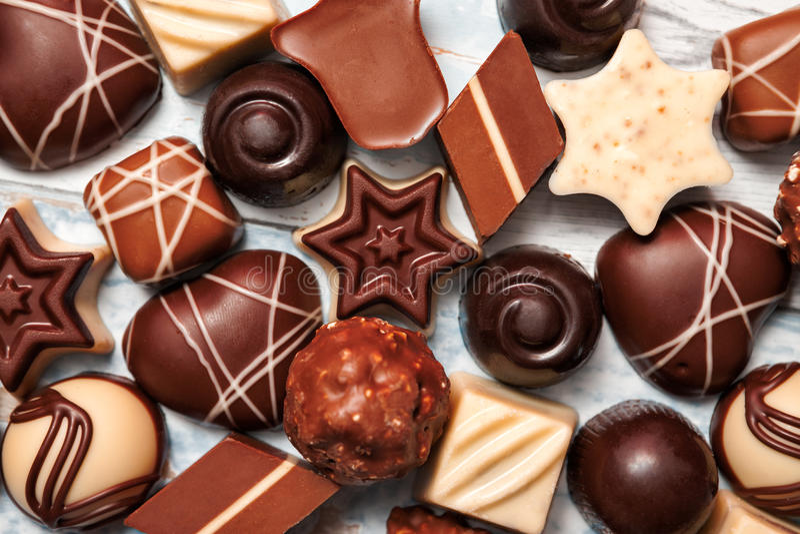 Variety of chocolate pralines stock photos