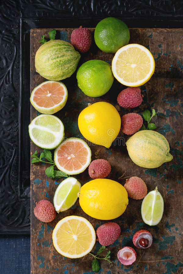 Variety of citrus fruits with tiger lemon stock photography