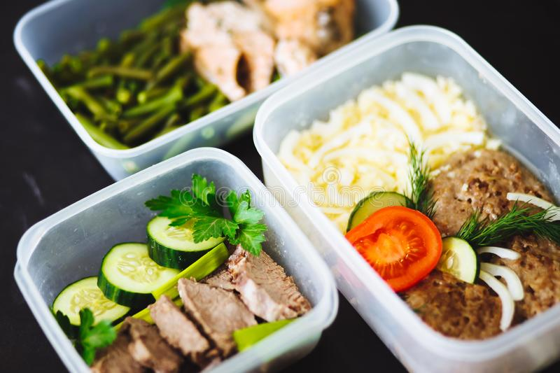 Variety of clean dieting dishes in containers. Healthy clean food concept, stock image