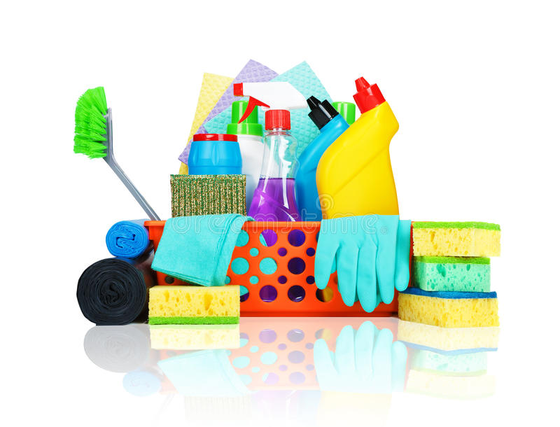 Variety of cleaning supplies in a basket royalty free stock images