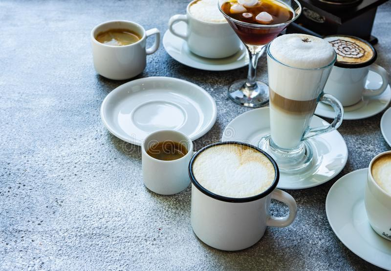 Variety of coffee drink types royalty free stock image