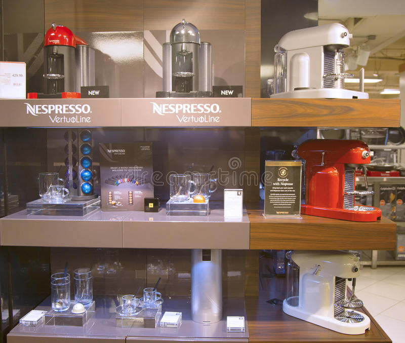 variety of coffee machines in nespresso store editorial stock photo image 39485753. Black Bedroom Furniture Sets. Home Design Ideas
