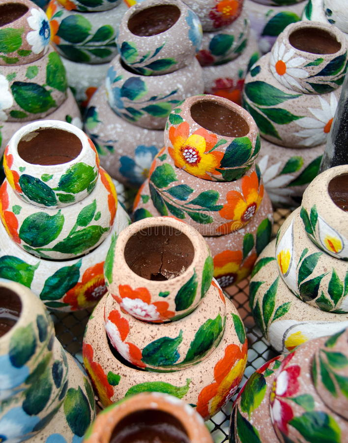 Variety of colorful ceramic pots in Old Village stock photo
