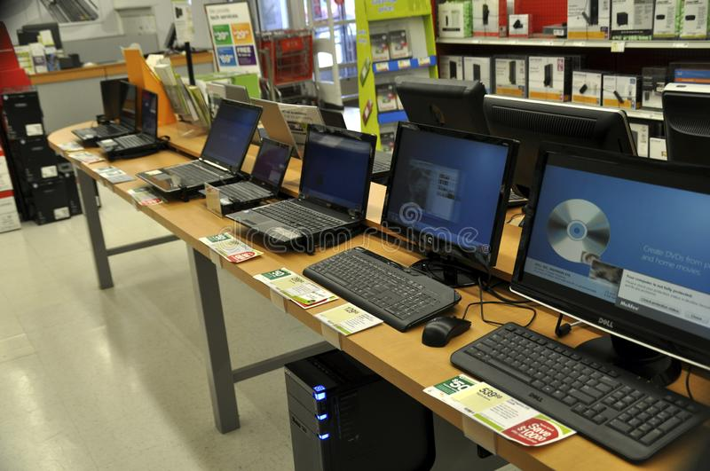 Computers for sale in a computer store royalty free stock photo