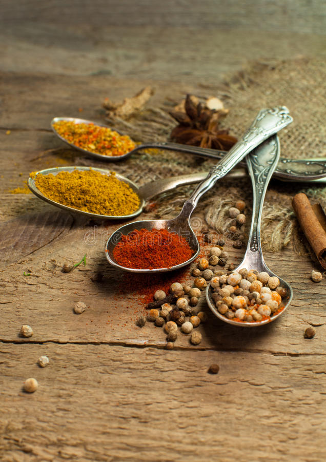 Variety of condiments and spices royalty free stock photo