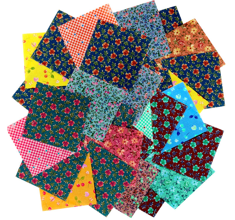 Variety of cotton squares for quilting. Variety of colorful cotton squares for quilting stock image