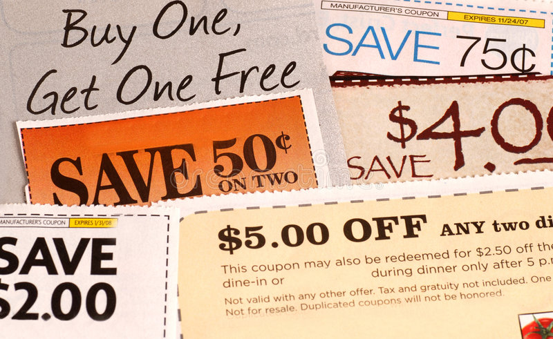A variety of coupons royalty free stock photo
