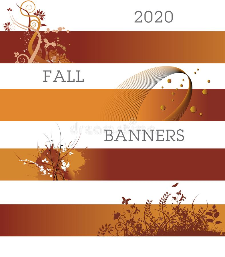 A variety of creative banners in fall colors. A template with multiple possibilities royalty free illustration