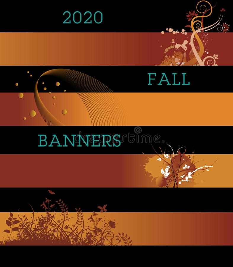 A variety of creative banners in fall colors. A template with multiple possibilities stock illustration