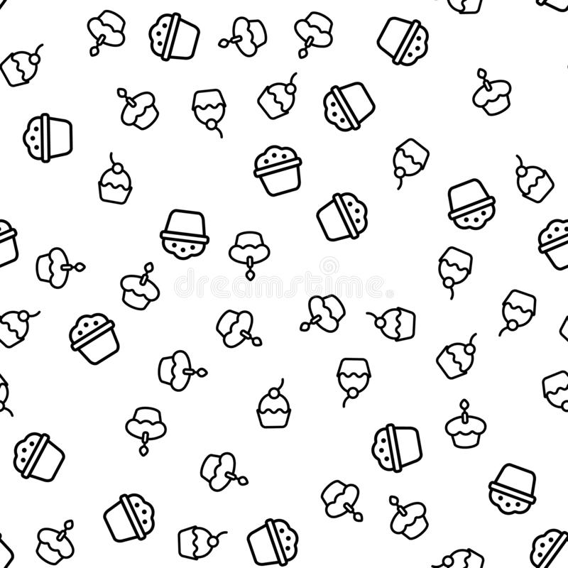 Variety Delicious Muffins Seamless Pattern Vector. Muffins With Poppy Seed Or Chocolate Chips, Cherry And With Candle On Top Monochrome Texture Icons royalty free illustration