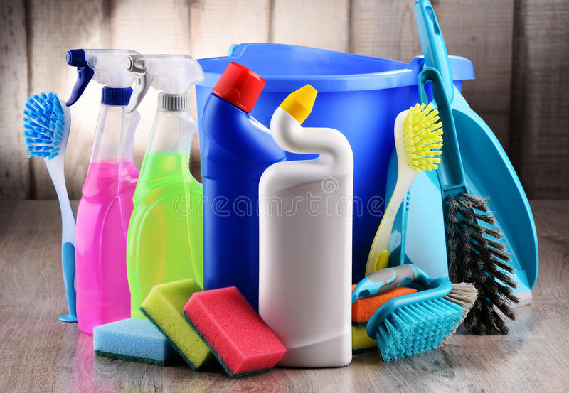 Variety of detergent bottles and chemical cleaning supplies.  royalty free stock images