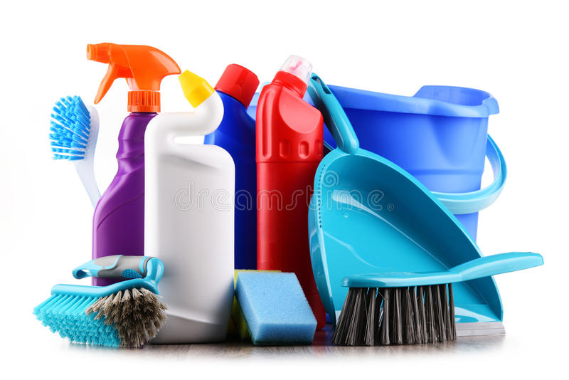 Variety of detergent bottles and chemical cleaning supplies. Isolated on white stock photography