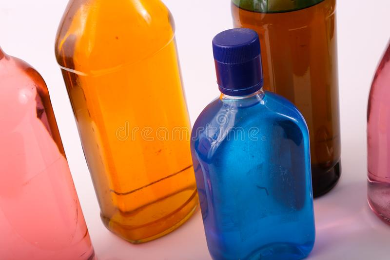Alcoholic beverages. Variety of different Alcoholic beverages bottles stock photos