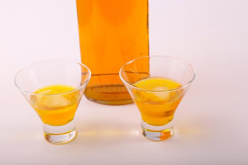 Alcoholic beverages. Variety of different Alcoholic beverages bottles stock images