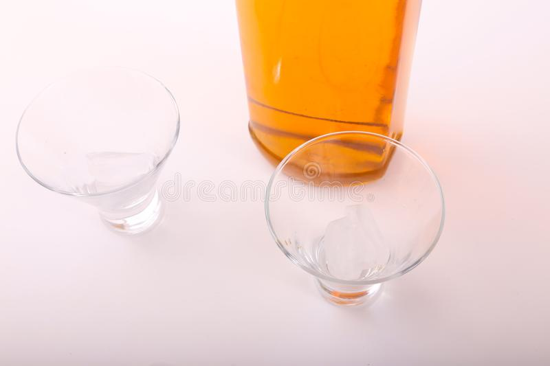 Alcoholic beverages. Variety of different Alcoholic beverages bottles royalty free stock images