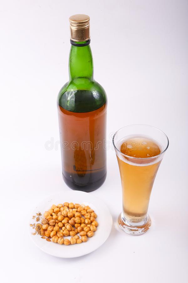 Alcoholic beverages. Variety of different Alcoholic beverages bottles stock photo