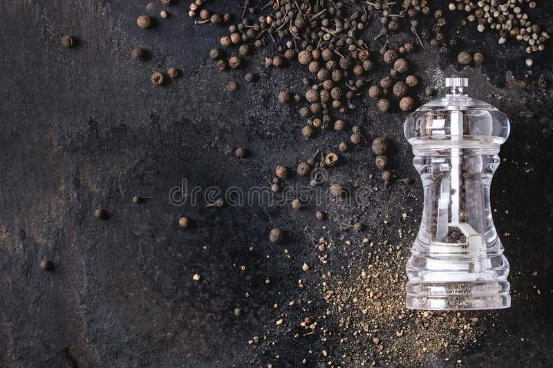Variety of black peppers royalty free stock image