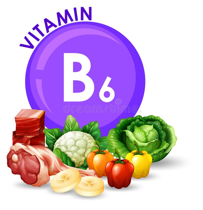 Variety of different foods with Vitamin B6. Illustration stock illustration