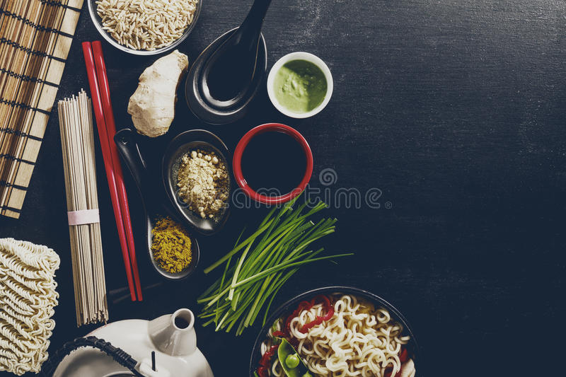 Variety Different Many Ingredients for Cooking Tasty Oriental As royalty free stock photography