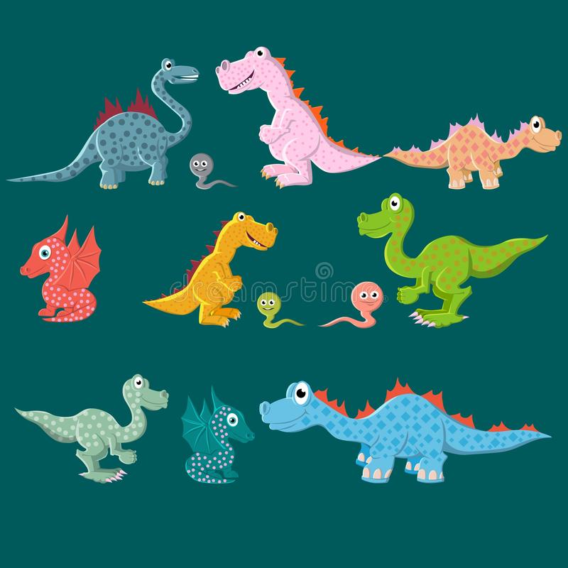A variety of dinosaurs, carnivores and herbivores. Vector illustration. Background for textiles and fabrics stock illustration