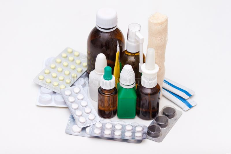 Variety of drugs and pills on white background. Medication list concept. For rest stock photos