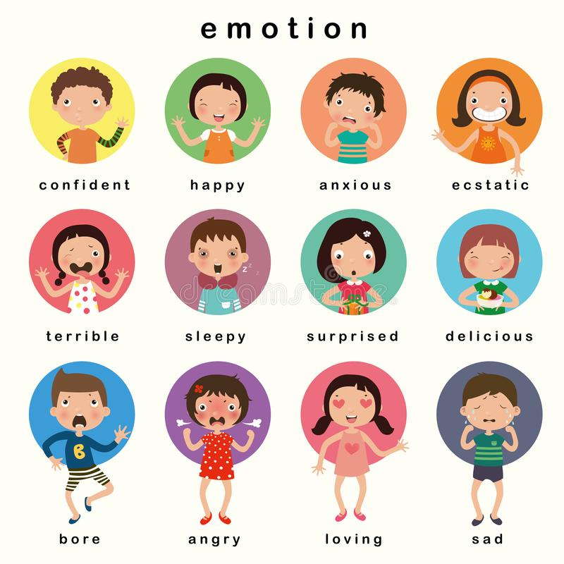 Variety of emotions children, kids face with different expressions. vector, illustration royalty free illustration