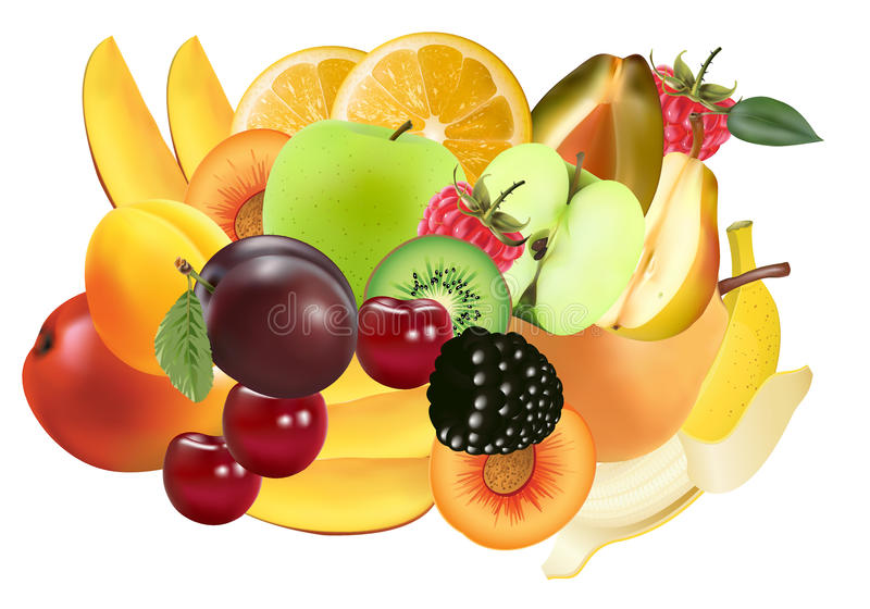 Download Variety of Exotic fruits stock illustration. Image of health - 25043278