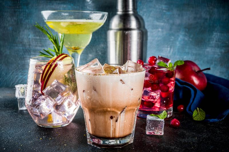 Variety fall winter cocktails royalty free stock image