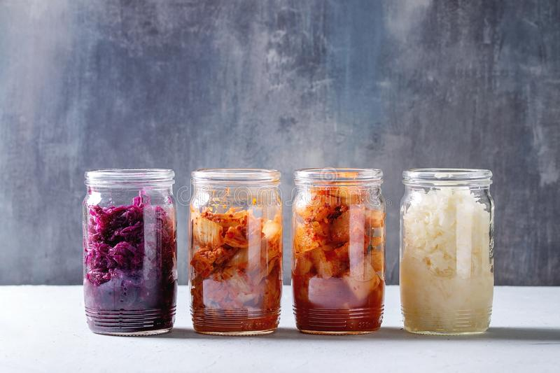 Variety of fermented food stock images