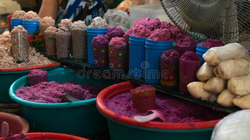 Variety of fermented salted shrimp in the market stock photography