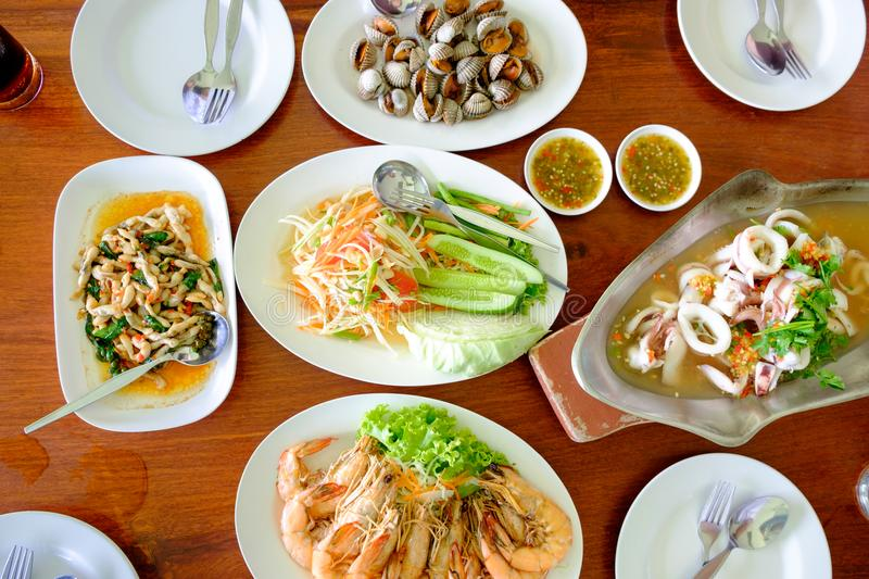 Variety of food on the table from top view stock images