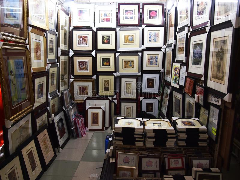 A Variety Of Framed Artwork For Sale Editorial Photo - Image of ...
