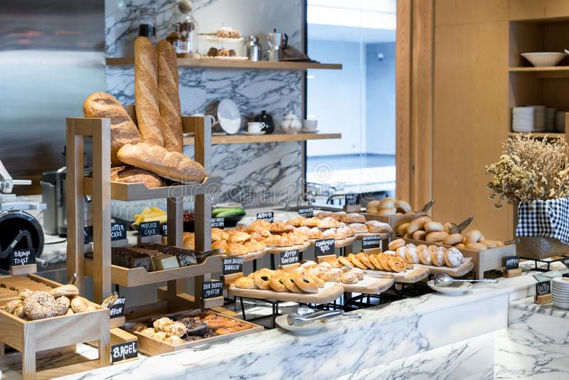 A variety of fresh homemade bread and bakery corner in luxury ho royalty free stock image