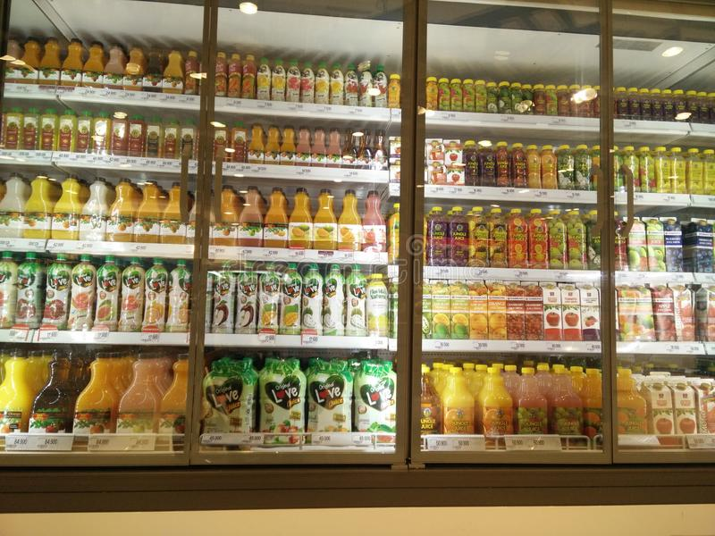 Bekasi, West Java/Indonesia March 10 2019 variety of fresh juice product in a chiller for sale royalty free stock photography