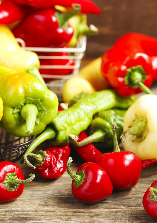 Variety of fresh organic peppers. stock image