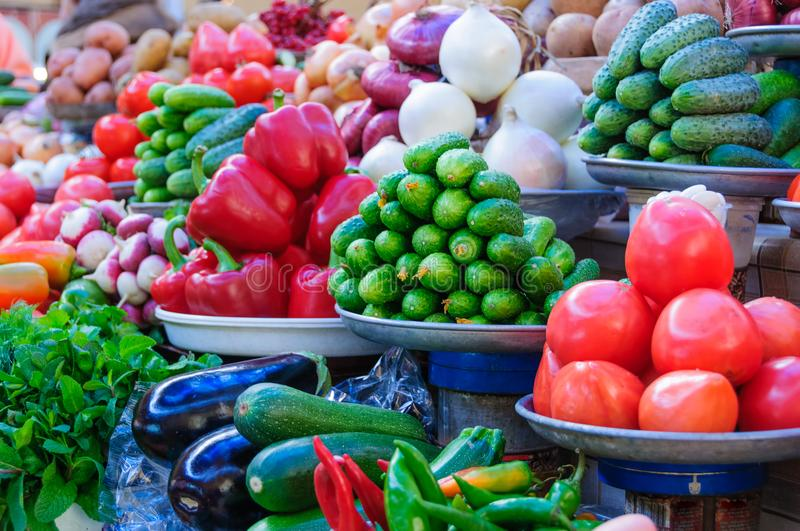 Variety of vegetables on the market stock images